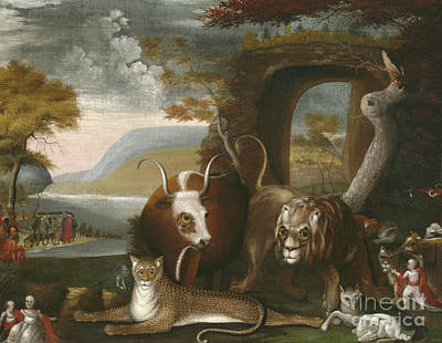 Pow Wow Painting - The Peaceable Kingdom by Edward Hicks