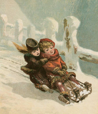 Winter Sports Painting - Vintage Christmas Card by English School