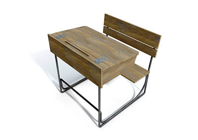 Desk Digital Art - Vintage Wooden School Desk by Allan Swart