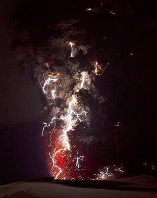 Lightning Bolt Photograph - Volcanic Lightning, Iceland, April 2010 by Olivier Vandeginste