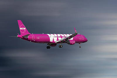 Mixed Media - Wow Air Airbus A321-211 by Smart Aviation