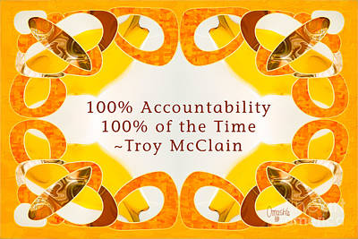 Typographic Drawing - 100 Accountability Abstract Inspirational Art By Omashte by Troy McClain