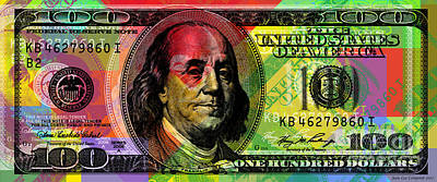 Digital Art - Benjamin Franklin - Full Size $100 Bank Note by Jean luc Comperat