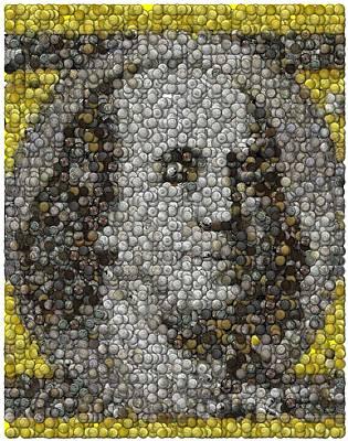 Benjamin Franklin Mixed Media - 100 Dollar Bill Coins Mosaic by Paul Van Scott
