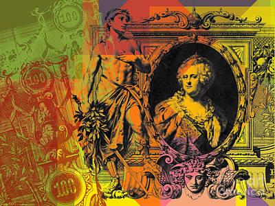 Digital Art - 100 Ruble Bill Pop Art Collage #3 by Jean luc Comperat