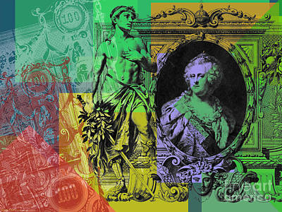 Digital Art - 100 Ruble Bill Pop Art Collage #4 by Jean luc Comperat