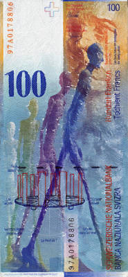 Digital Art - 100 Swiss Franc Pop Art Bill by Serge Averbukh