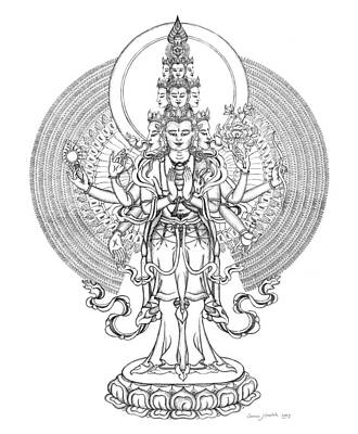Buddha Drawing - 1000-armed Avalokiteshvara by Carmen Mensink