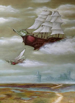Painting - Steampunk Airships by Ramona Boehme