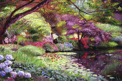 Painting - Water Lily Lake by David Lloyd Glover
