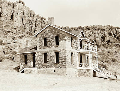 Photograph - 1009.304 Fort Davis Texas Antique Black And White by M K  Miller
