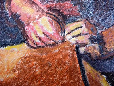 Painting - 101615 Pastel Craftsman Hands by Garland Oldham