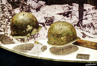 Photograph - 101st Airborne Helmets In Bastogne by Weston Westmoreland