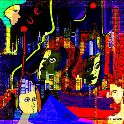 Painting - 103 -   Psychedelic City Night .. by Irmgard Schoendorf Welch