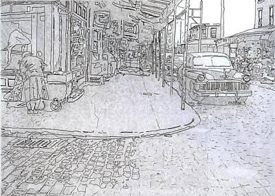 Philadelphia Street Drawing - 1031 S. 9th St.,phila.,pa by Michael Cifone