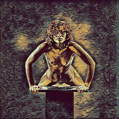 Digital Art - 1032s-zac Fit Black Woman On Platform In The Style Of Antonio Bravo by Chris Maher