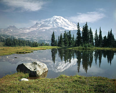 Photograph - 104862-h Mt. Rainier Spray Park Reflect by Ed Cooper Photography