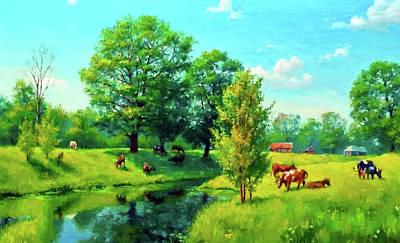 Winter Painting - Nature Oil Canvas Landscape by Edna Wallen