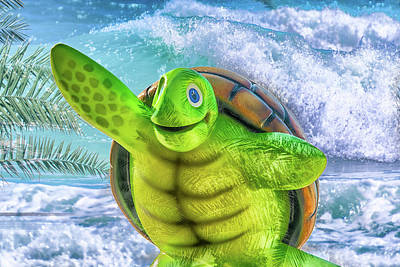 Turtle Mixed Media - 10731 Myrtle The Turtle by Pamela Williams