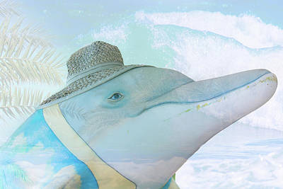 Dolphin Mixed Media - 10732 Flipper by Pamela Williams
