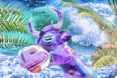 Digital Art - 10748 Purple Cow In Paradise by Pamela Williams