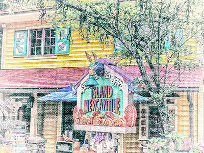Store Fronts Mixed Media - 10768 Island Mercantile by Pamela Williams