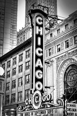 1077 Chicago Theater Black And White Art Print