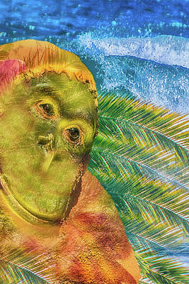 Mixed Media - 10793 Brass Monkey In Paradise by Pamela Williams