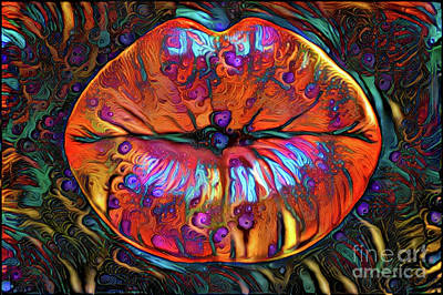 Kissing Lips Art Print by Amy Cicconi