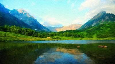 Sunrise Painting - Nature Cool Landscape by Margaret J Rocha