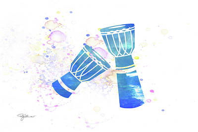 Mixed Media - 10829 Djembe Drums by Pamela Williams