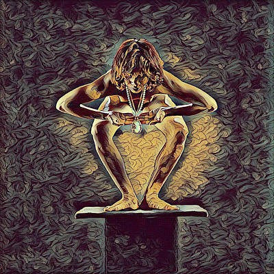 Digital Art - 1083s-zac Dancer Squatting On Pedestal With Amulet Nudes In The Style Of Antonio Bravo  by Chris Maher