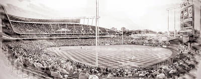 Digital Art - 10931 Kauffman Stadium Field Bw by Pamela Williams