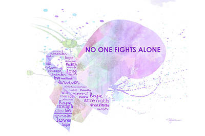Cancer Digital Art - 10969 No One Fights Alone by Pamela Williams