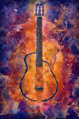 Mixed Media - 10987 Guitar On Fire by Pamela Williams
