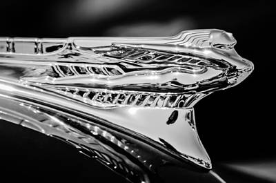 1946 Desoto Hood Ornament -169bw Art Print by Jill Reger