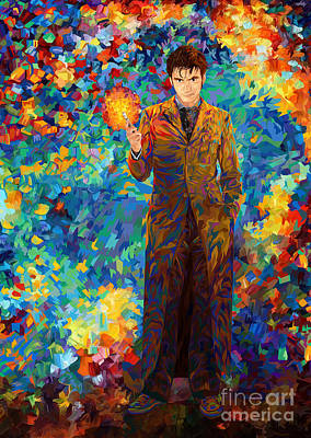 Painting - 10th Doctor Who With Screwdriver Abstract Art by Three second