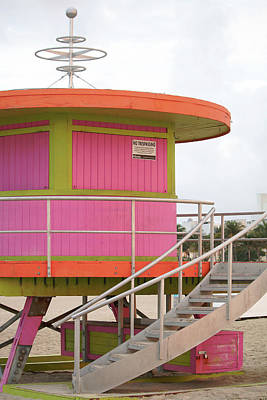 Photograph - 10th Street Lifeguard Tower - South Beach by Art Block Collections