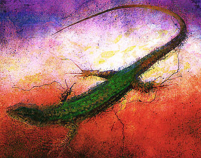 Newts Digital Art - Amphibian by Elena Kosvincheva
