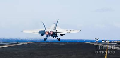 An Fa-18e Super Hornet Launches Art Print by Stocktrek Images