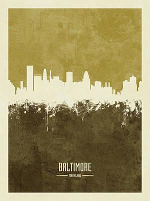 Digital Art - Baltimore Maryland Skyline by Michael Tompsett