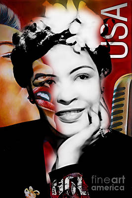 Icon Mixed Media - Billie Holiday Collection by Marvin Blaine