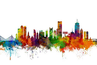 Michael Digital Art - Boston Massachusetts Skyline by Michael Tompsett
