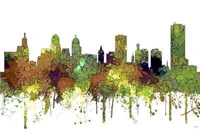 Digital Art - Buffalo New York Skyline by Marlene Watson