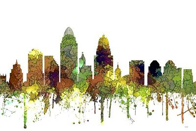 Digital Art - Cincinnati Ohio Skyline  by Marlene Watson