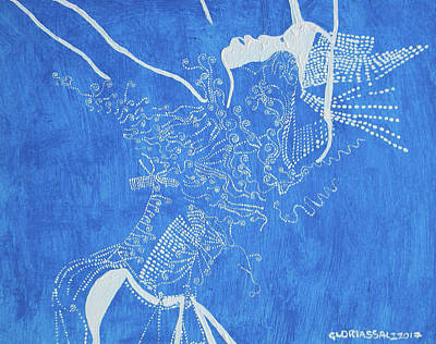 Painting - Dinka In Blue South Sudan by Gloria Ssali