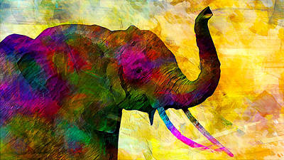 Elephant Art Print by Elena Kosvincheva