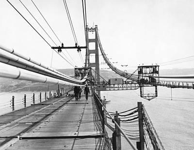 Photograph - Golden Gate Bridge Work by Underwood Archives