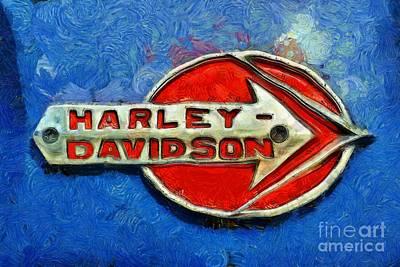 Collectible Painting - Harley-davidson Badge by George Atsametakis