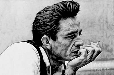 Musician Digital Art - Johnny Cash Collection by Marvin Blaine